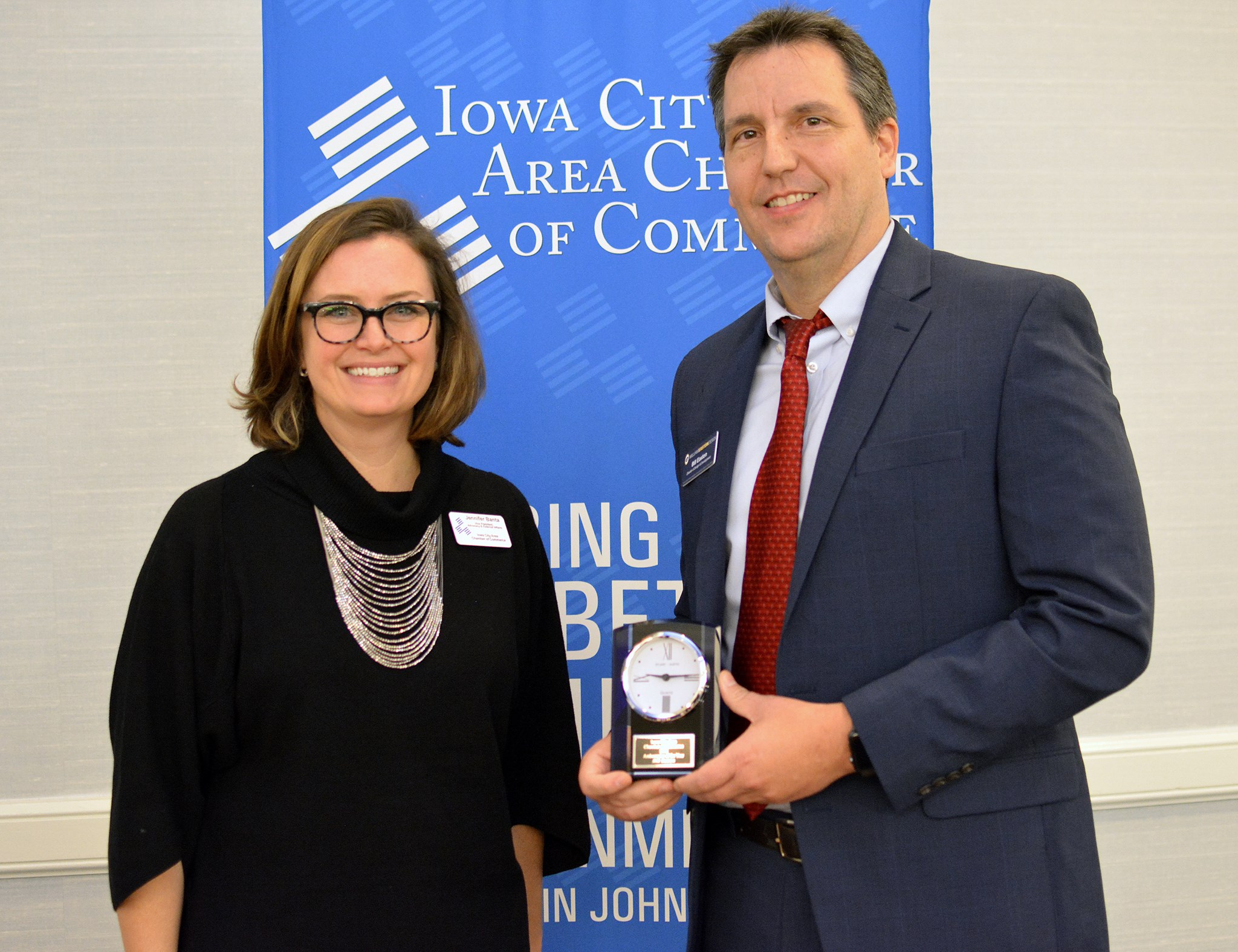 Photography of Iowa City Area Chamber of Commerce 2018 Ambassador of the Year William Easton and Jennifer Banta