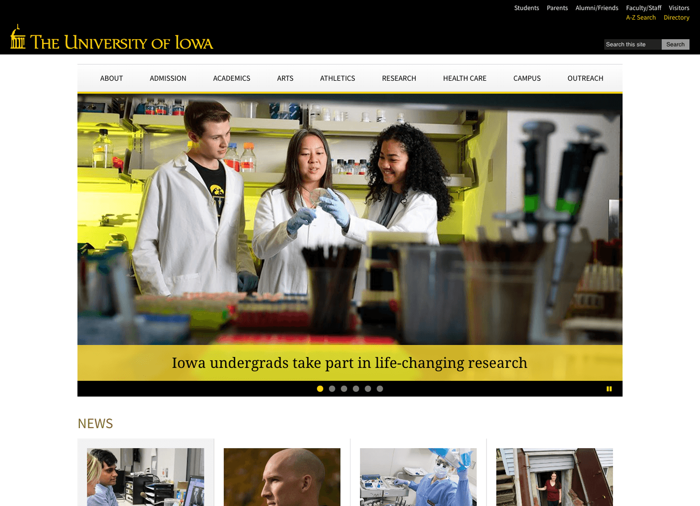 The University of Iowa Website Home Page