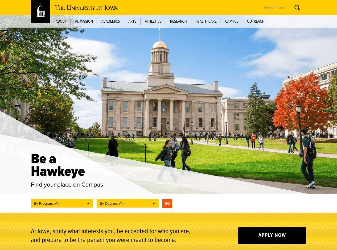 University of Iowa Home Page Redesign Version 1